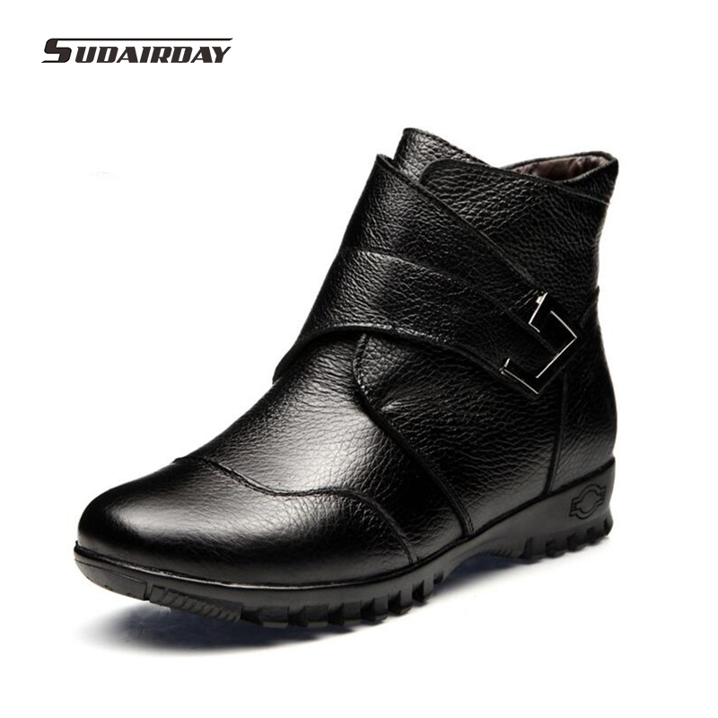 2016 High Quality Women Genuine Leather Warm Ankle Boots Ladies Martin Shoes Woman Winter Wedges Snow Boots Mujer Chaussure fashion genuine leather hollow lace style winter martin boots women warm snow shoes ankle woman bottine ladies platform femme