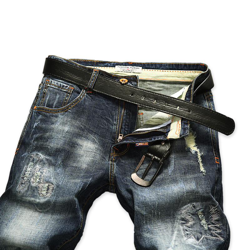 AIRGRACIAS Ripped Denim Shorts For Men