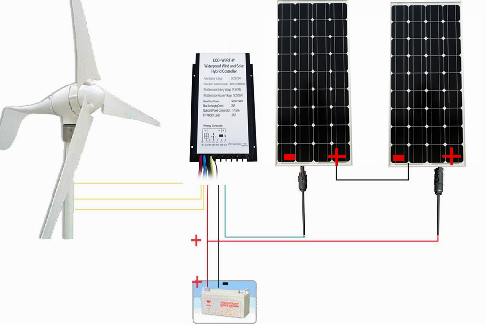 USA EU AU Stock No Tax No Duty 700W Hybrid kit 400W Wind Turbine Generator 300W Monocrystalline Solar Panel 24V System de stock no tax no duty 700w 24v turbine generator system 400w wind turbine generator