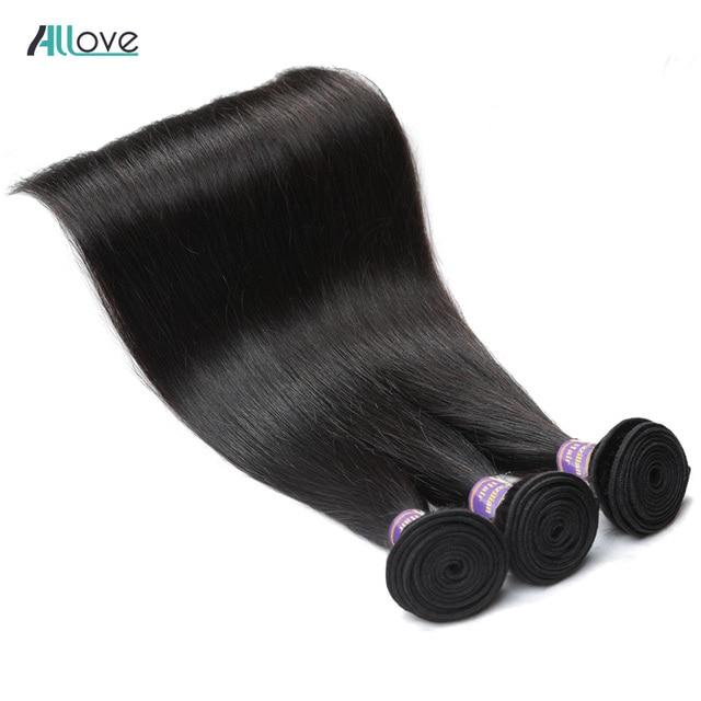 Allove индийские прямые пучки волос 100% человеческие волосы пучки 8-28 дюймов натуральный цвет не Реми волосы двойное машинное переплетение