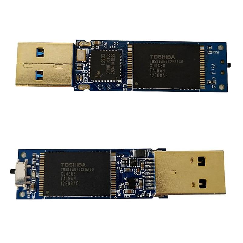 Image 2 - Read/Write220MB/s USB3.0  16G 32G 64G SLC USB3.0 Write Protect Swit FlashDisk IS903 SLC pendrive Transparent SLC Disk metal caseUSB Flash Drives   -