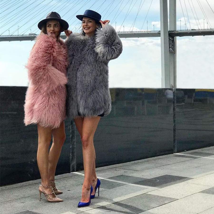 CNEGOVIK Womens Lamb Fur Coat Tan Sheep Fur Coats Short Sheep Skin Jacket 75cm Mongolia Sheep