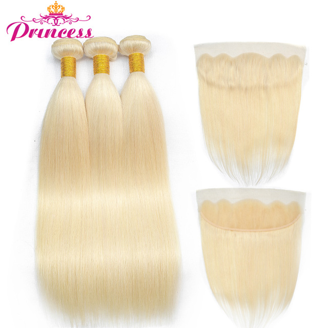 Beautiful Princess 613 Blonde Straight Brazilian Hair Weave with Closure 3 Human Hair Bundles Hair and Lace Frontal Non- remy