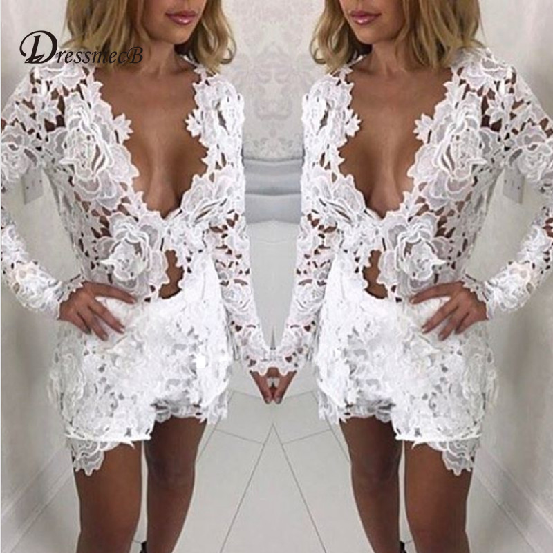 a1ec6b0278 Detail Feedback Questions about DRESSMECB Summer Lace Hollow Out Crop Top  And Shorts Women Sexy Long Sleeves Two Piece Outfits Casaco Feminino V Neck  Set on ...
