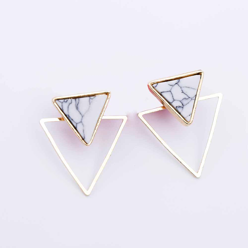 Geometric Faux Stone Stud Earring 8