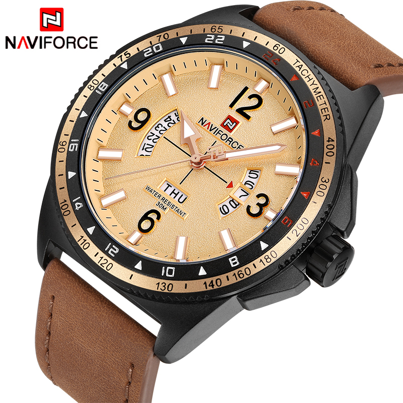 все цены на New Luxury Brand NAVIFORCE Men Sports Watches Men's Quartz Date Clock Man Army Military Leather Wrist Watch relogio masculino