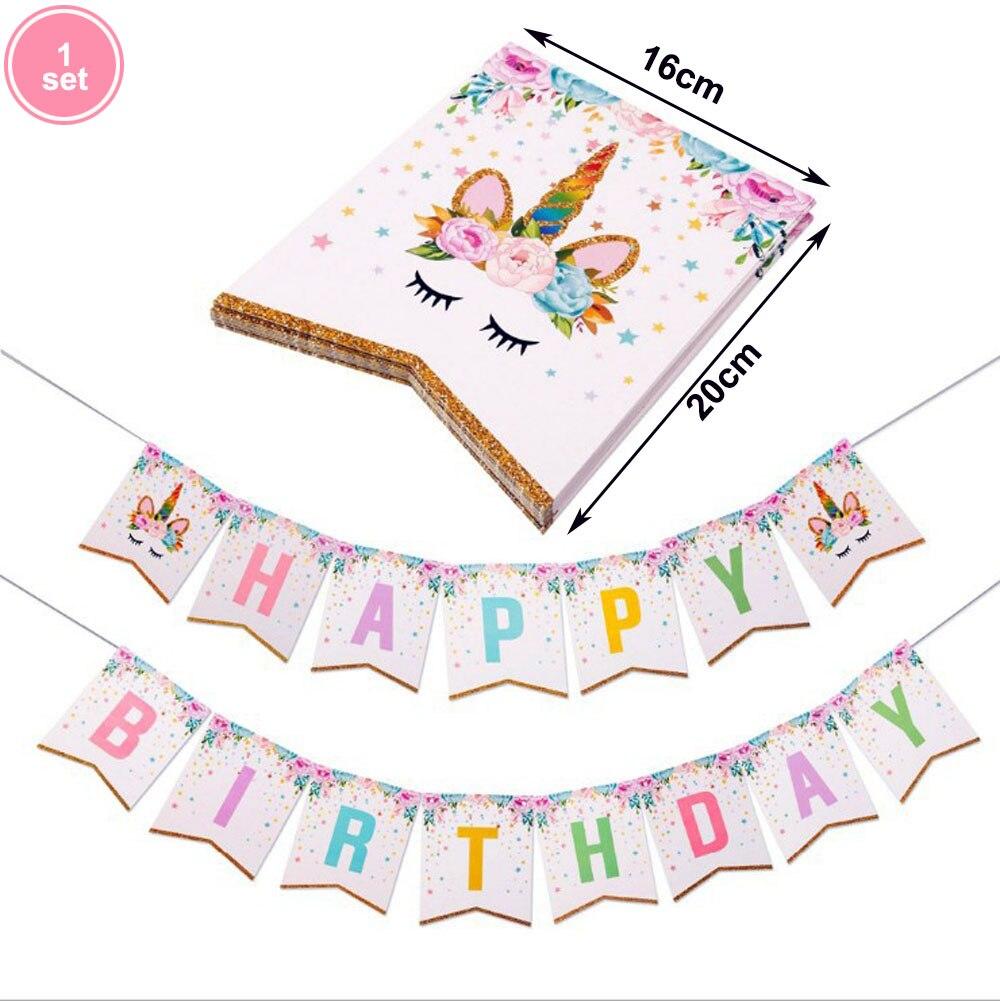 1set Rosa Gillter Einhorn Banner Geburtstag Party Dekore Papier Girlande Glücklich Geburtstag Dekorationen Kinder Partei Liefert