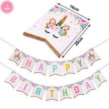 1set Pink Gillter Unicorn Banner Birthday Party Decors Paper Garland Happy Decorations Kids Supplies