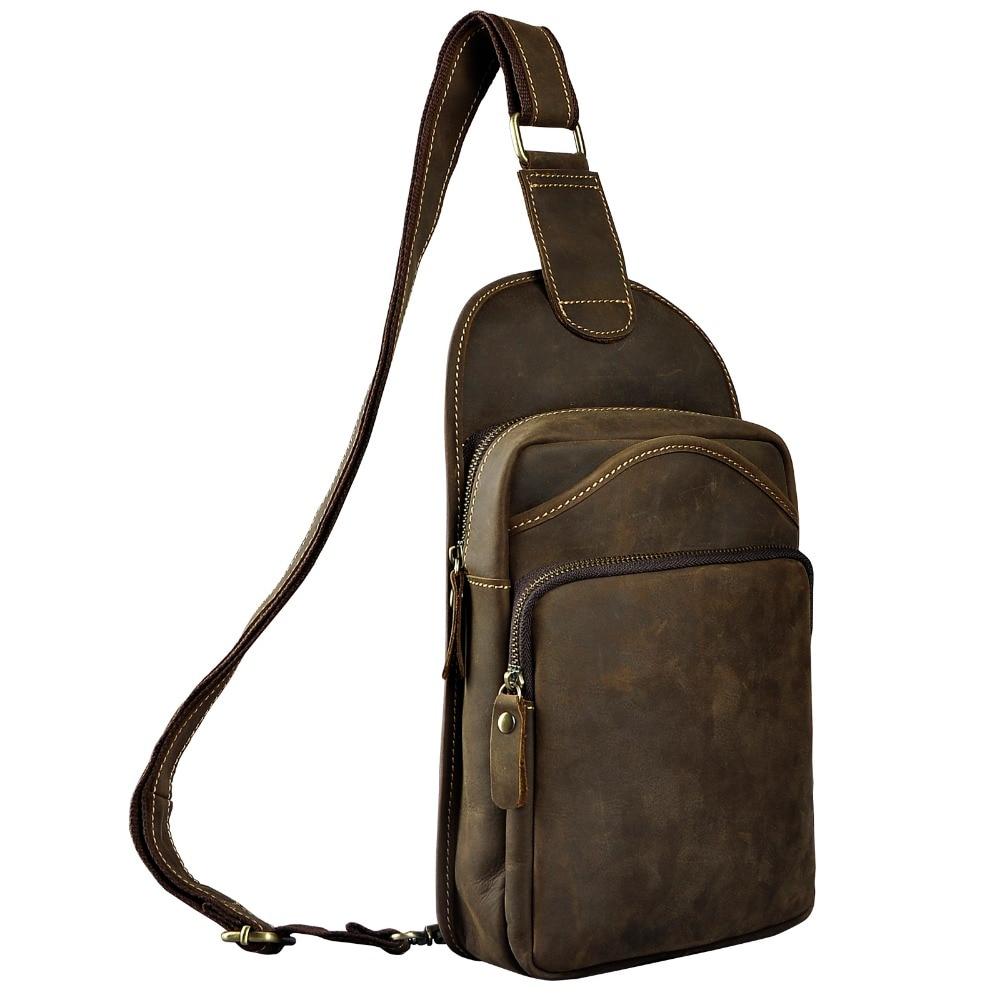 Le'aokuu Men Crazy Horse Leather Casual Vintage Chest Bag Sling Bag Design One Shoulder Bag Crossbody Bag For Male 9977 slim fit design mega storage capacity holster shape chest bag for men armpit oxter sling bag