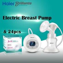 Haier brillante usb автоматический электрический молокоотсосы для грудного молока bpa бесплатно мощность всасывания насоса с 24 шт. кормящих pad