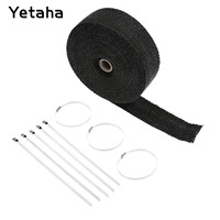 Black 15M Motorcycle Thermal Exhaust Header Pipe Tape Heat Insulating Wrap Tape Resistant Downpipe Durable Stainless Steel Ties
