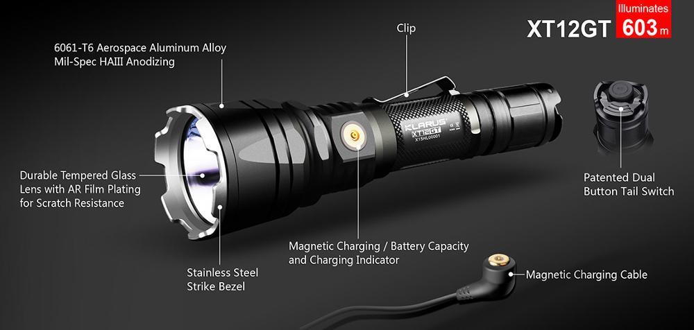 1Set KLARUS XT12GT 1600 Lumens LED Flashlight CREE LED XHP35 HI D4 Waterproof Tactical Flashlight with18650 Battery RTS1 FT12 in LED Flashlights from Lights Lighting