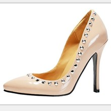 Custom-Made Fashion Nude Pump Size 11 Women Shoes High Heel Rivet Thin Heel Closed Pointed Toe Ladies Pumps Women Shoes 2015