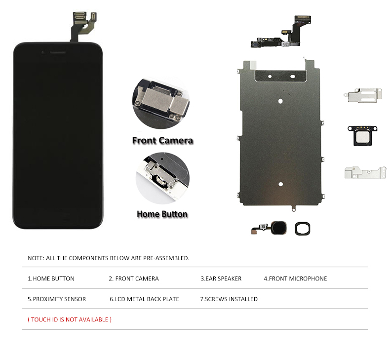 Image 2 - 1PC Full Set LCD Display For iPhone 6 6S Plus LCD Screen Digitizer Assembly 6P 6SP Complete Screen with Front Camera+Home Button-in Mobile Phone LCD Screens from Cellphones & Telecommunications