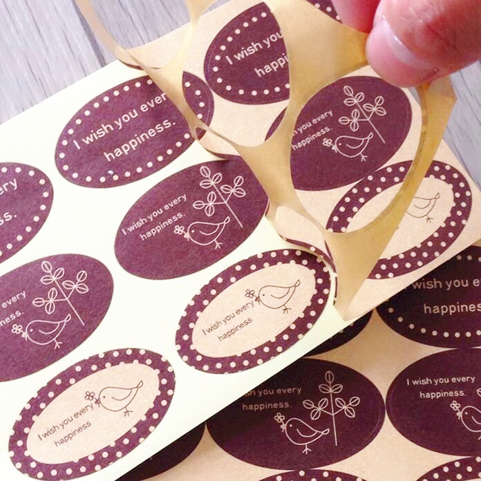 90PCS/Lot Classical Brown Wish Series Ellipse Seal Sticker For Handmade Products Kawaii Gift Sealing Sticker Students' DIY Label