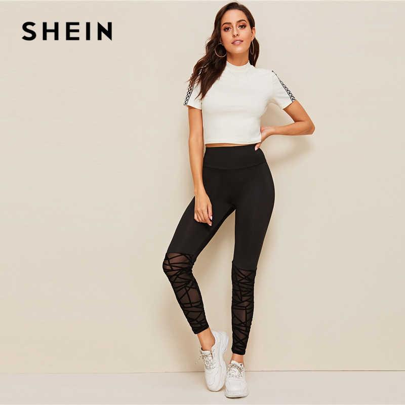 Leggings ajustados con dobladillo de malla flocado SHEIN 2019 negro elástico para mujer ropa de entrenamiento Leggings de malla de contraste