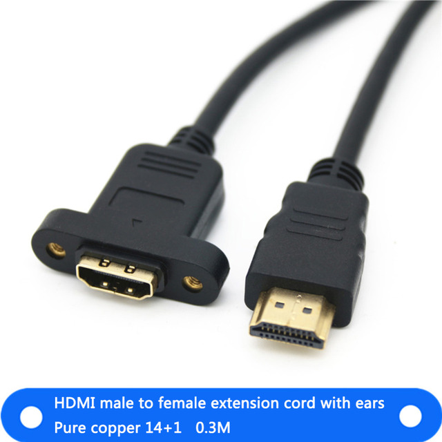 HDMI Cable Male To Female Host Case Panel Mount Screw Cable Cord Cable 1.4 Male To Female Computer Cables & Connectors