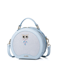 2017 New Women Summer Bags Owl Rinestone Embroidery PU Leather Lady Round Handbag Shoulder Bags For