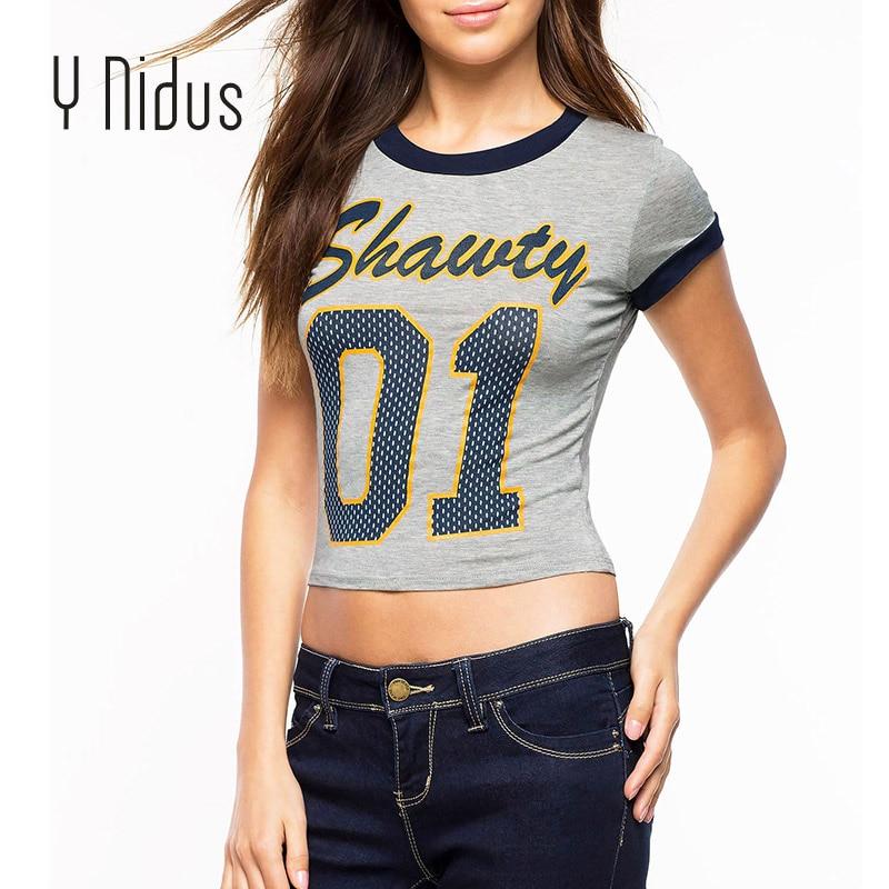 Y Nidus Womens Shirts Summer Short Blouse 2018 Womens Letter Printed Shirt Gery Sex Midriff Casual Top Blusas Feminina S-XL