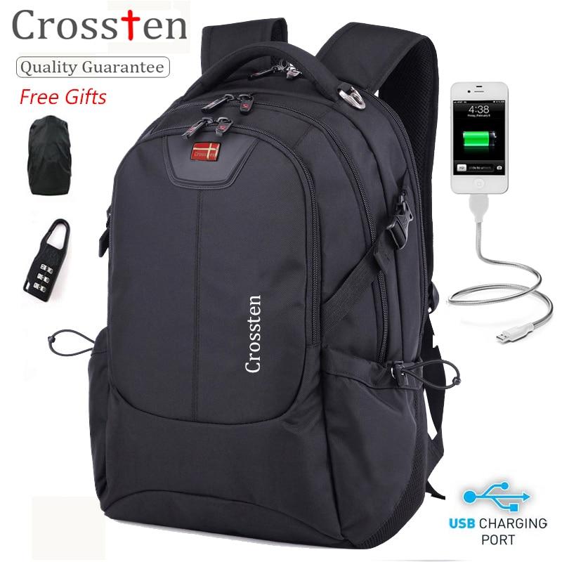 Crossten Multifunctional 16 Laptop Computer Backpack Waterproof Versatile Schoolbag Travel Bag Rucksack with USB Charging Port