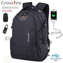 Crossten Multifunctional 16″ Laptop Computer Backpack Waterproof  Versatile Schoolbag Travel Bag Rucksack with USB Charging Port
