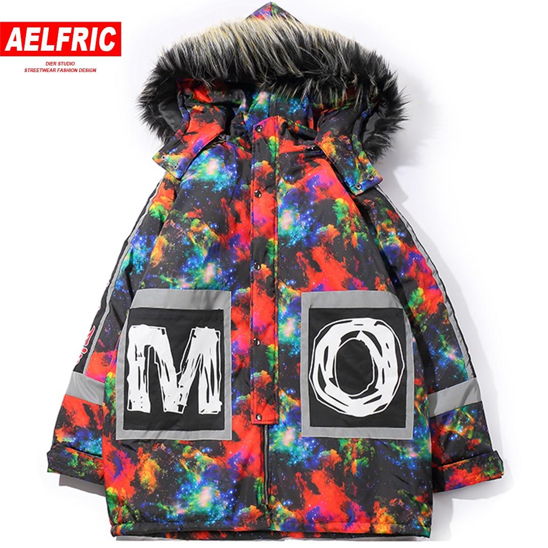 AELFRIC Coloré Parkas Hommes avec Fourrure vestes à capuche Pardessus Designer hip hop Hiver veste chaude De Mode décontracté Streetwear AP50