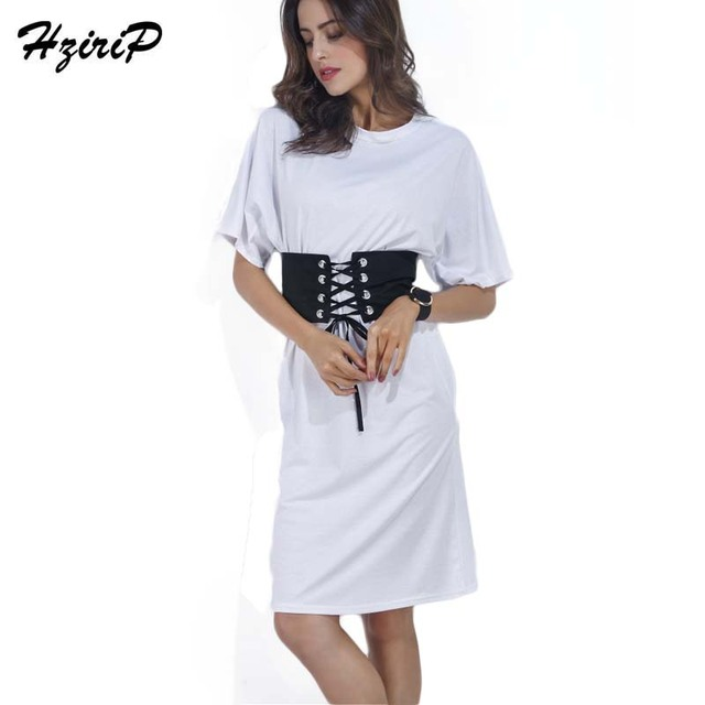 6dee3a748547f US $16.24 |Hzirip Women Summer Casual Shift Dresses Ladies Plain White O  Neck Black Belt Waist Short Sleeve Rolled cuff Mid Dress Fashion-in Dresses  ...