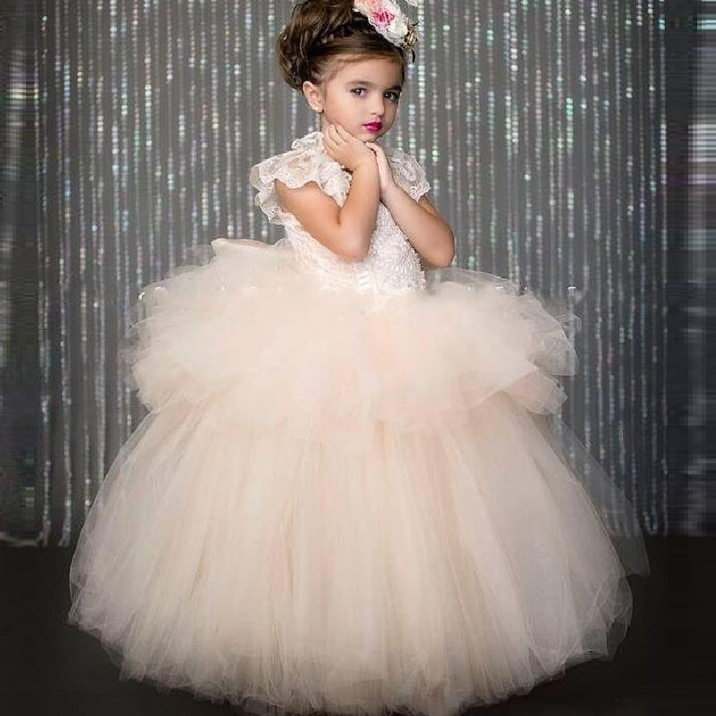 2017 New Flower Girl Dresses Cap Sleeves Appliques Tulle Ball Gown White/Ivory Communion Birthday Gowns Vestidos Longo Custom жидкая матовая помада super stay matte ink maybelline new york 20 пионер