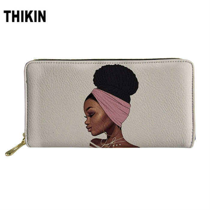 THIKIN Art Afro Girl Print Women's Wallet Personalized Zipper PU Clutch Kawaii Portfel Portable Bag Ladies Money Coin Long Purse