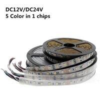 New Arrivals RGB+CCT LED Strip 5050 60led/meter 12v/24volt 5 in 1 chips LED CW+RGB+WW flexible strip White PCB