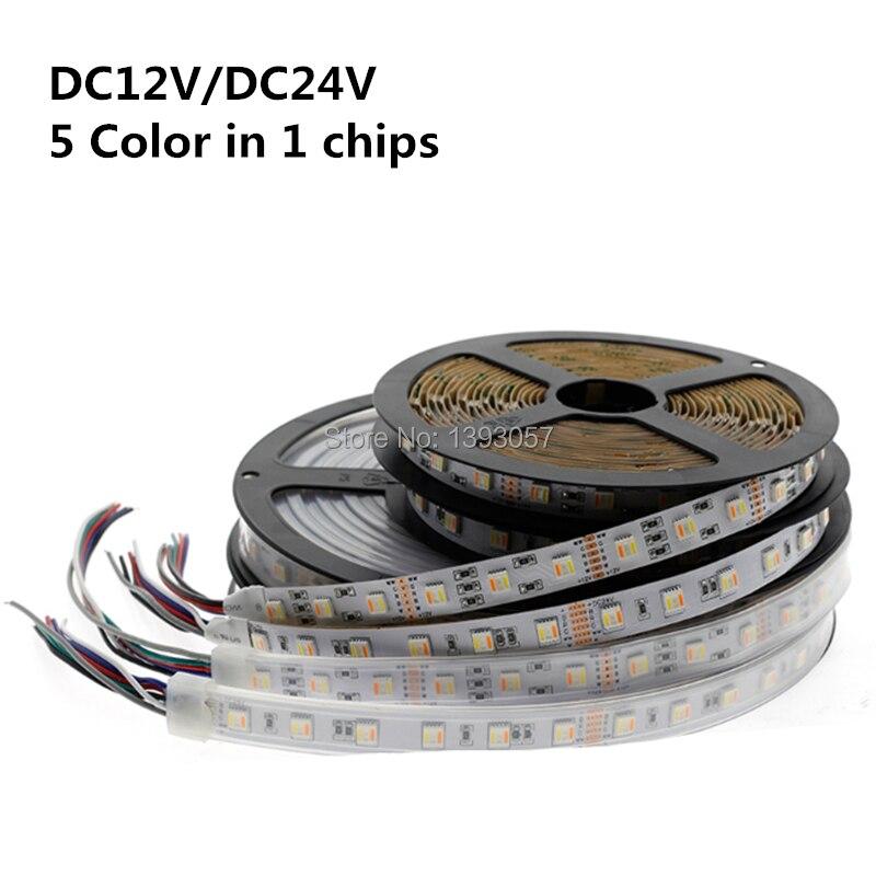 Nouveautés RGB + CCT LED bande 5050 60 LED/mètre 12 v/24 volts 5 en 1 puces LED CW + RGB + WW bande flexible PCB blanc