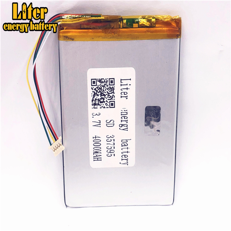 1 0MM 5pin connector 357595 4000mah 3 7V lithium polymer battery for tablet pc rechargeable battery in Tablet Batteries Backup Power from Computer Office
