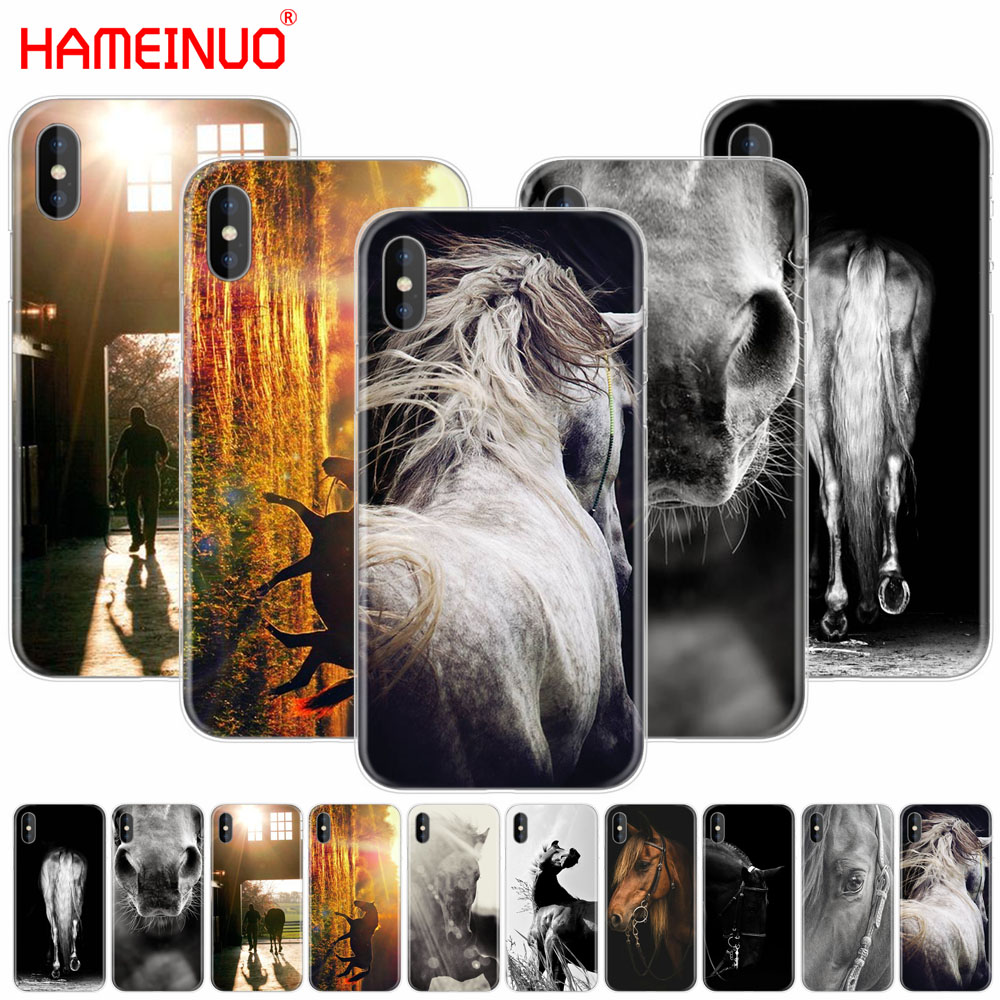 HAMEINUO Sunset and horse cell phone Cover case for iphone X 8 7 6 4 4s 5 5s SE 5c 6s plus
