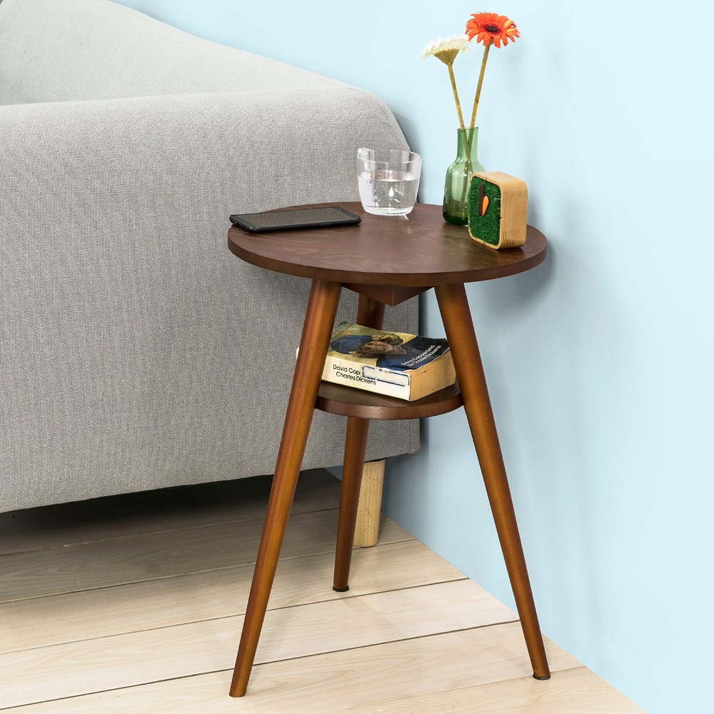 SoBuy FBT58-BR, 2 Tiers Round Wooden Sofa Side Table End Table Tea Coffee Table Living Room Furniture minimalism iron tea table creative small end table sofa side coffee table living room furniture