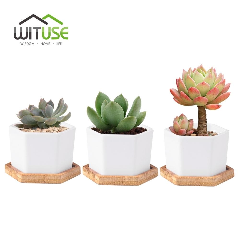 Wituse 2 4 6x Glazed White Ceramic Succulent Plant Pot