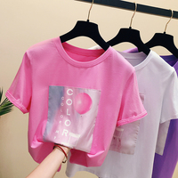 Pink T-shirt Short Sleeves Tshirt Woman New Spring Summer Clothes Loose T-shirts Female Student Chic Blusas Basic Shirts Ladies