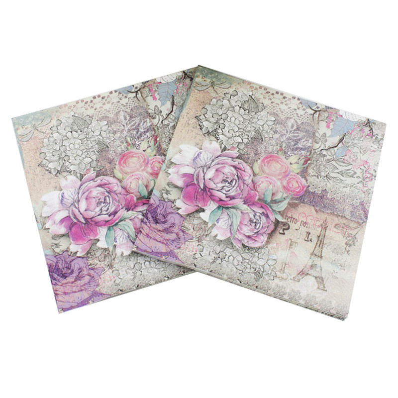 Lunch Paper Napkins-20pcs 33x33cm Printed Paper Napkin for Decoupage Pink Flower and Eiffel Tower Napkins for Wedding ...