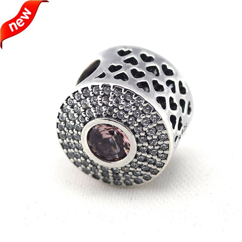 925 Sterling Silver Jewelry Radiant Splendor, Blush Pink Crystal Original Chamrs DIY Beads Fits Pandora Bracelets CKK