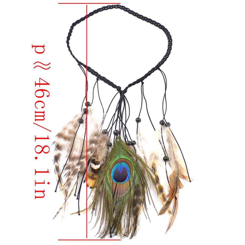 Idealway Bohemia Feather Headbands Women Hair Accessories Indian Style Knitted Belt Peacock Feather Headband Festival Gift