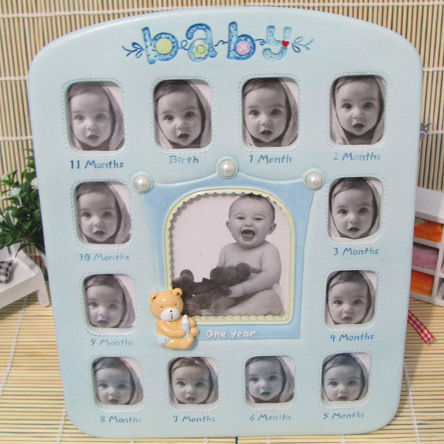 12 Month Baby Frame Bebes 2 Inch Growth Record Blue Photo Frame