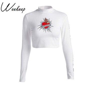 Weekeep Women Fashion Heart-Shaped Print Hoodies Long Sleeve Letter Printed Sweatshirt 2017 Moleton Feminino Inverno Hoody women Sweatshirts & Women Hoodies