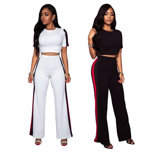 ea5e7eeaeb1e5 2019 Summer Fashion Women clothes Plus size two piece set crop top Cropped  Tops Pants Fashion suit tracksuit