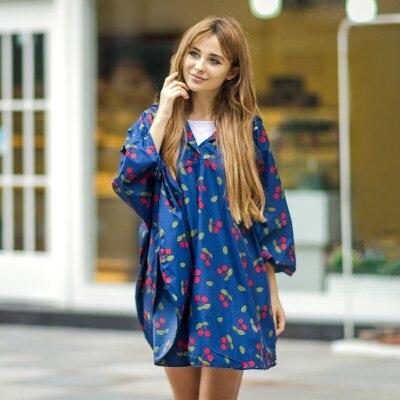კორეის მოდის დასვენება წვიმის ქურთუკი Cherry poncho გასქელება raincoat 140 * 125cm უფასო გადაზიდვა