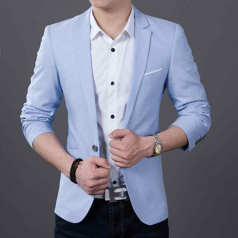 c171987be72 2019 New fashion long sleeve brand blazer Men blazer casual coat slim fit Jacket  plus size