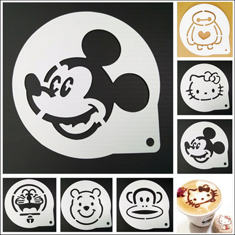 by DHL or EMS 500 pcs Cappuccino Coffee Barista Stencil Template Strew Pad Duster Spray Mold Cartoon Foam Coffee Tools 6 pattern