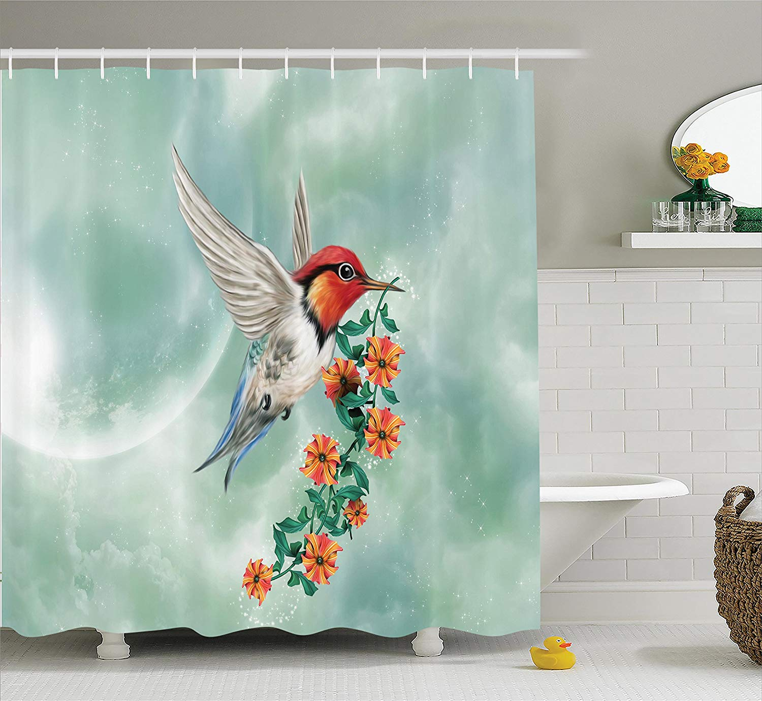 Gallery Of Hummingbird Bathroom Accessories Hummingbirds Decorations Shower Curtain A Is Flying With
