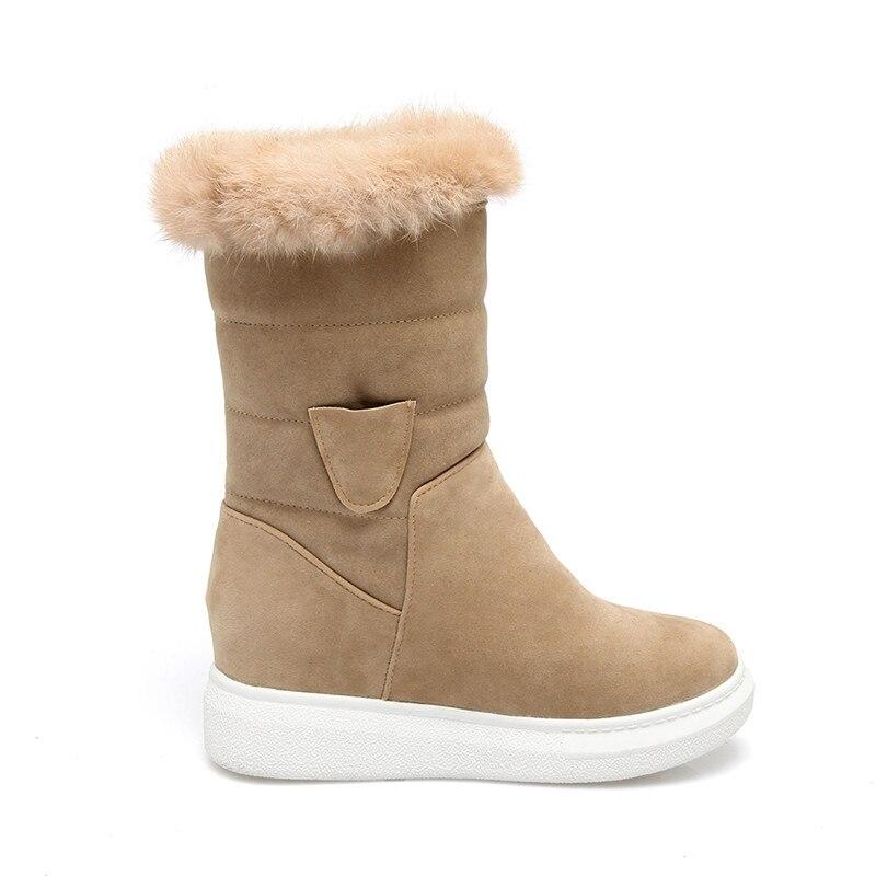 Botas Zapatos Piel Cálido Tamaño Naturaleza La Flock Calientes Adoración Mujeres Invierno Nueva De En Beige Deslizamiento negro Las Moda Felpa Media Altura Grande Plataforma qTUU8R