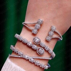 Image 2 - Роскошные модные Ювелирные наборы GODKI для женщин Свадебные циркониевые кристаллы CZ Дубай Свадебные наборы браслетов и колец современные женские серьги 2019