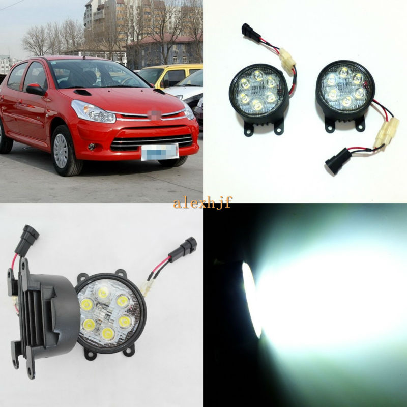 July King 18W 6LEDs H11 LED Fog Lamp Assembly Case for Citroen C2 C-Elysee, 6500K 1260LM LED Daytime Running Lights