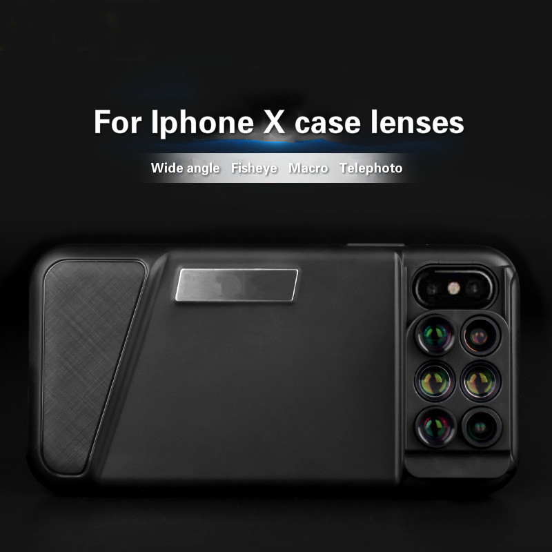 Multi function Mobile Phone Lens Cover for Iphone X External Lens Wide angle Fisheye Macro Telephoto Special Effects Lens